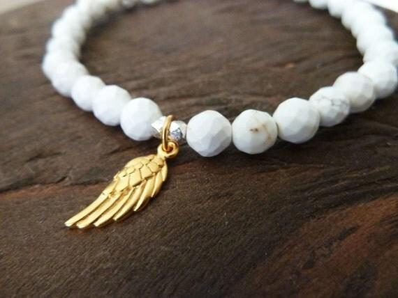 Guardian Angel Layering Bracelet in White Howlite, Reiki, Healing, Angel Wing, Blessing, Charm Bracelet, Layering Bracelet