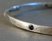 twisted sterling silver bangle bracelet  gypsy set blue sapphire