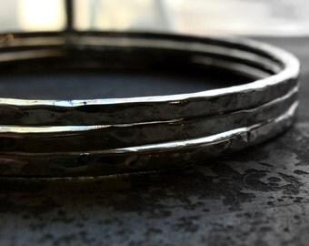 hammered sterling silver bangle bracelets: set of 3  simple