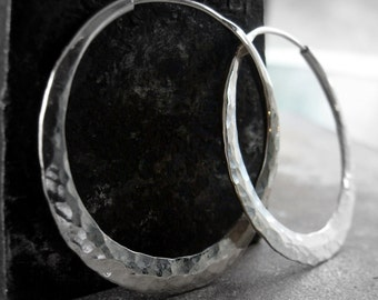 silver  hoop earrings, hammered endless hoops medium size