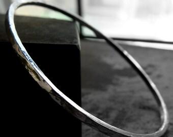 bangle bracelet hammer forged sterling silver simple