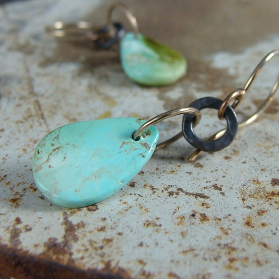 14k gold and Nevada Turquoise earrings with darkened sterling silver accents