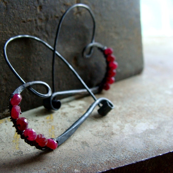 oxidized sterling silver heart hoop with faceted ruby beads, dark silver heart with red ruby earrings