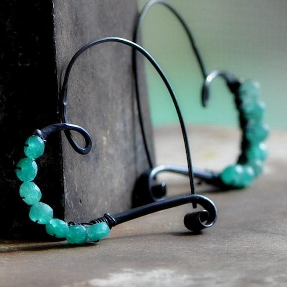 darkened sterling silver heart hoop earrings with emerald    large heart hoops  oxidized silver, in stock, Ready to ship
