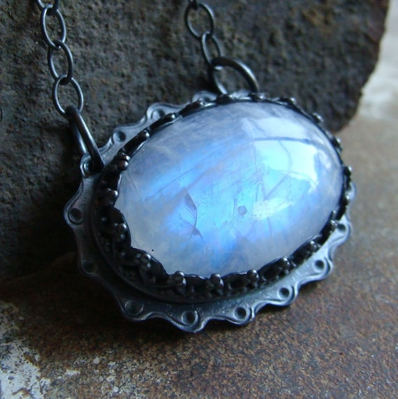 Moonstone necklace in darkened sterling silver