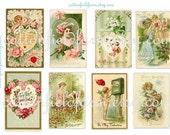 Victorian Valentines Vintage Ladies Cupids Roses Soft Greens and Pinks Digital Sheet C-105