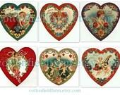 Victorian Valentine Romantic  Hearts Digital Sheets C-104 Set of 2