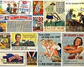 WWII Homefront Memory Collage C-188 Digital Sheets Set of 2 for Tags, Scrapbooking