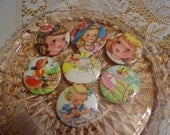 Mid-Century Retro Little Girls Pinback Buttons 2.25 inch Set of 12
