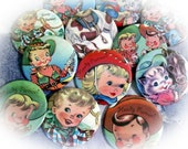 Cowboy and Cowgirl Vintage Children 2.25 Magnets Set of 12  for Birthday Party Favors and Gifts