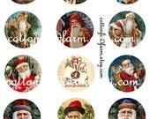 Victorian Christmas Santas 2 Inch Circle Tags Digital Sheet C-274  for Tags, Cards, Scrapbooking Two Sheets