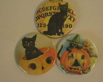 Vintage Halloween Pinback Buttons 2.25 Inch Set of 12