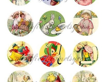 Vintage Easter Fun 2 Inch Circles C-156 for Tags, Stickers, Scrapbooking, Cardmaking, Altered Art, Journaling Spots, Mini Journals
