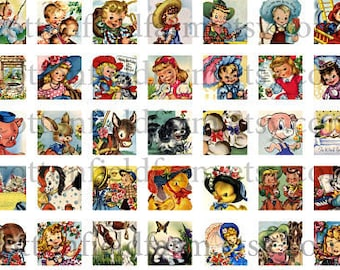 Retro 1950s Children and Animals  One Inch Squares Digital Sheet C-197 for Scrabble Tiles, Square Frames