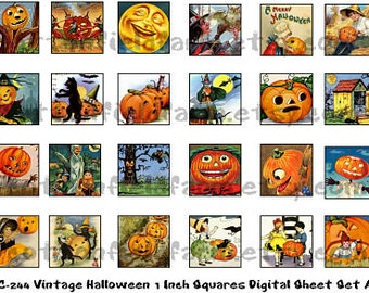 Vintage Halloween 1 Inch Squares Digital Sheet C-244 Set A for Scrabble Tiles, Glass Tiles, Tags, Scrapbooking