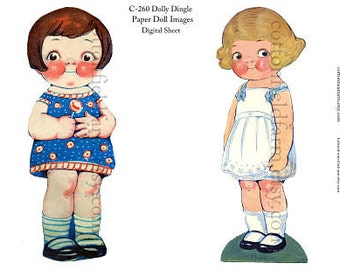 Dollie Dingle Vintage Paper Dolls Digital Sheet C-260  for Transfers or Sewing into Dolls, Cards, Scrapbooking
