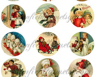 Victorian Christmas Children 2 Inch Circle Tags Set A, Digital Sheet C-267, Two Sheets, for Tags, Scrapbooking, Cardmaking, Transfers