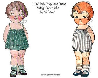 Dolly Dingle and Friend Vintage Paper Dolls Digital Sheet C-263  for Transfers or Sewing into Dolls, Cards, Scrapbooking