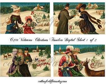 Victorian Christmas Families Digital Sheet C-270 Tags, Cards, Scrapbooking Two Sheets
