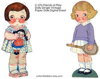 Dollie Dingle Vintage Paper Dolls Friends At Play Digital Sheet C-276  for Transfers or Sewing into Dolls, Cards, Scrapbooking