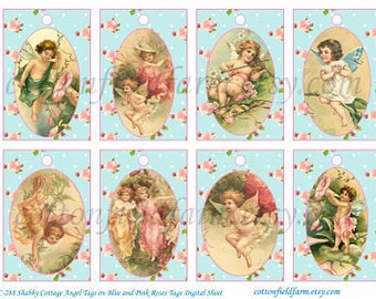 Shabby Cottage Angel Tags Digital  Sheet C-288 Cupids and Fairies 3 Sheets