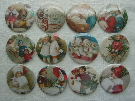 Victorian Christmas Children  2.25 Pinback buttons Set of 12  for Christmas, Party Favors, Gifts, Decorations, Your Choice