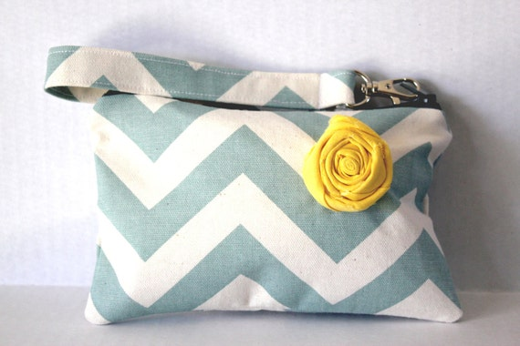 Chevron Wristlet with Shabby Rose and removable strap (cornflower blue)