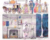 Cinderella Toy Paper Theater Paper doll toy from Vintage Magazine Digital E-mail Collage Sheet Download