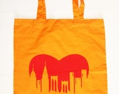 Brooklyn Love Tote Bag (orange with red image)