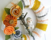 Fluffy White and Mustard White Owl Yarn Wreath - The Original Felt and Yarn Wreath