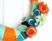 18 inches -The Original Felt Yarn Wreath-Paint Chip