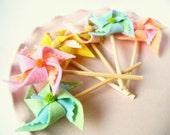 Wedding or Party Set of 100 Felt Pinwheel Cupcake Toppers