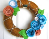 10 inch Caramel, Ginger and Aqua- The Original Felt Flower Yarn Wreath