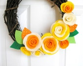 RESERVED Naural Grapevine Wreath with Fabric Roses - Juice