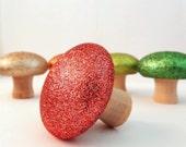 Burnt Orange Glittered Mushroom