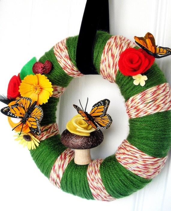 Migration -Handmade Felt Yarn Wreath