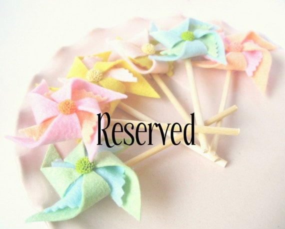 RESERVED-4 Felt Pinwheel Cupcake Toppers