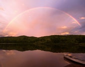 """Rainbow Over Vermont Lake and Mountains Photo - """"Timing is Divine"""" - 8x12 Nature Landscape Photography Print - Lake House Cottage Decor Art"""