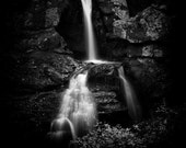 Majestic New England Waterfall - 8x10 Black and White Minimalist Nature Photo Print - Fine Art Home Decor
