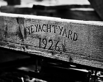 Ye Yacht Yard - Rustic Vintage Distressed Nautical Boat Sign - 5x7 Black and White Photo Print