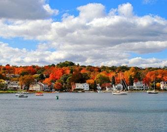 Mystic River in Autumn - 10x20 Color Nature Landscape Photo Print - Scenic New England in Fall Home Decor