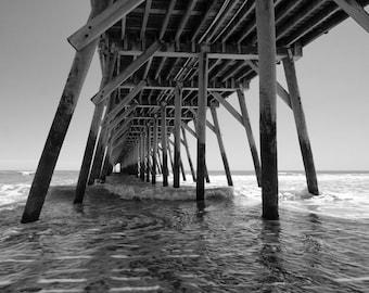 "Myrtle Beach State Park Pier Photo - ""Under the Pier"" - 11x14 Black and White Photo Print - South Carolina - Ocean Seashore Nautical Beach"