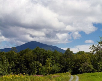 """Rural Vermont Countryside - """"High Meadow Trail"""" - 8x10 Color Nature Photo Print - Green Blue Hiking Mountains - Cottage Cabin Decor"""