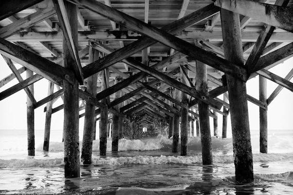 "South Carolina Pier Photo ""Myrtle Beach Springmaid Pier"" 11x14 Black and White or Color Nautical Photo Print Beach Ocean House Decor"