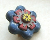 Pin/brooch made from recycled faucet handle, found object jewelry, flower pin