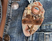 Patriotic Jewelry, Mixed Media Pin, Brooch, All American, Found Object Jewelry
