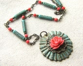 Summer Rose Necklace, Coral Pink and Turquoise Blue, Pink Rose,  Found Object Jewelry