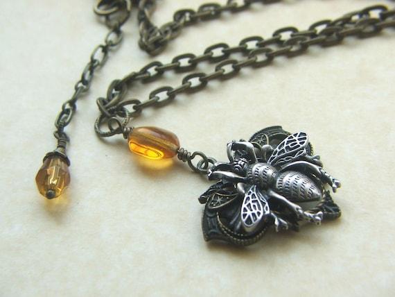 Vintage inspired bee necklace honey bee pendant