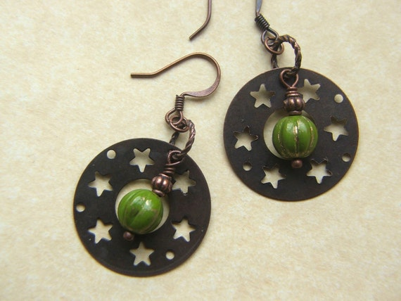 Copper star dangle earrings, woodland fall colors, copper and mossy green