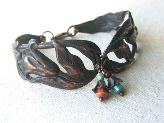 Vintage Inspired Art Nouveau Bracelet Dark Copper Spring Flowers
